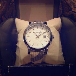 Unisex Silver Burberry Watch